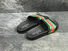 Мужские шлепанцы GUCCI (реплика) черные/красные/зеленые 40,41р, фото 3