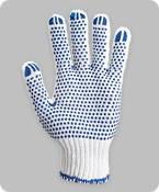 Перчатки рабочие трикотажные с ПВХ точкой (белые/серые), фото 1