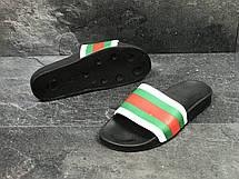 Мужские шлепанцы GUCCI (реплика) черные/красные/зеленые, фото 2