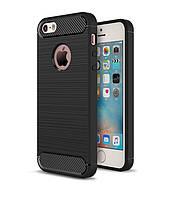 Чехол Carbon для Iphone 5 / 5s / SE Бампер оригинальный Black
