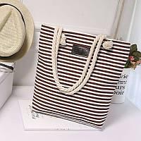 Женская сумка пляжная тканевая в коричневую полоску опт, фото 1
