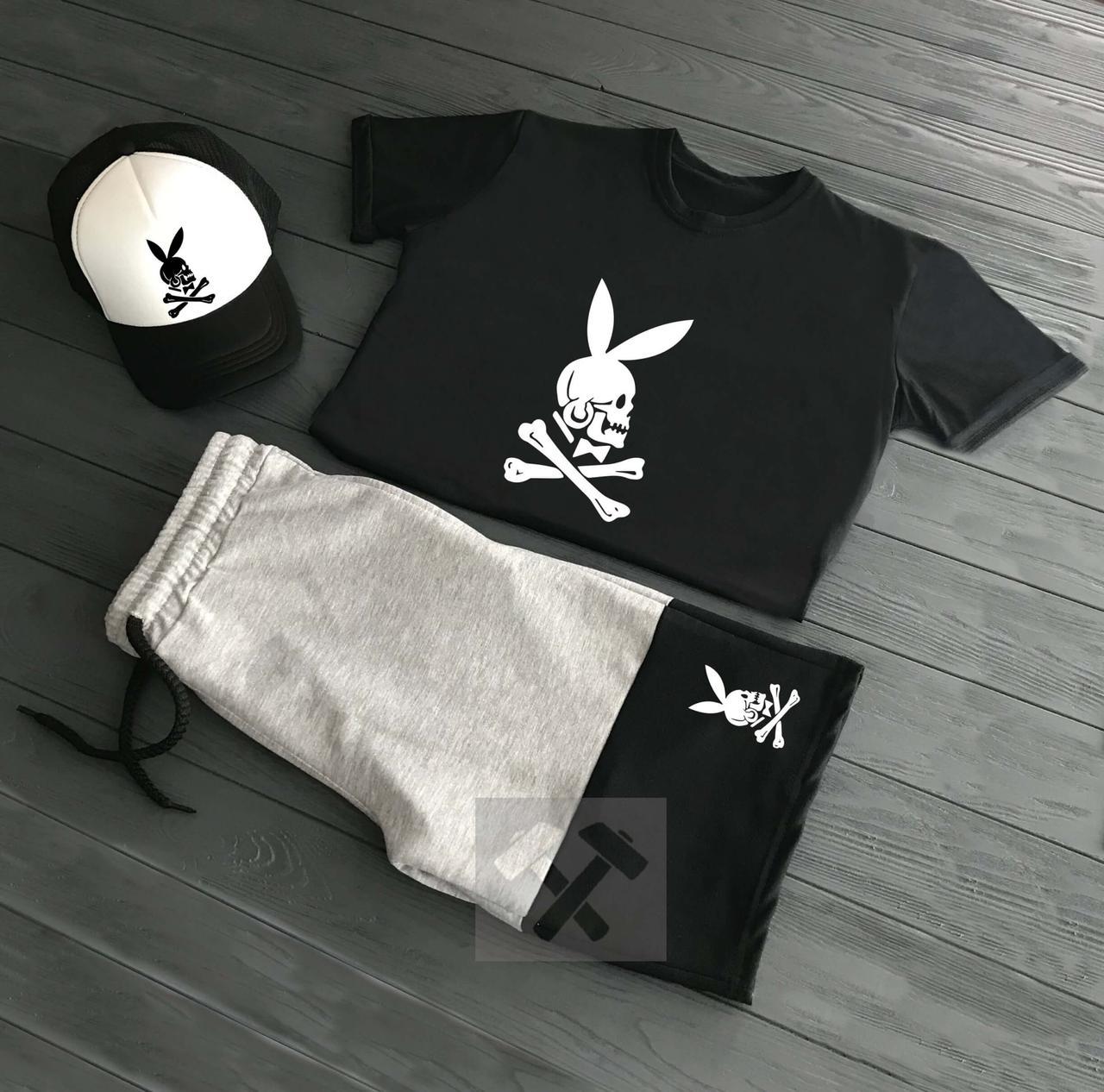 4e26e20d36a1 Летний спортивный костюм Заяц-Череп футболка+шорты+кепка купить в ...