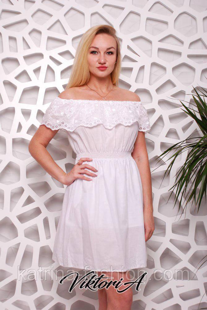 Женское белое платье хлопок с вышивкой