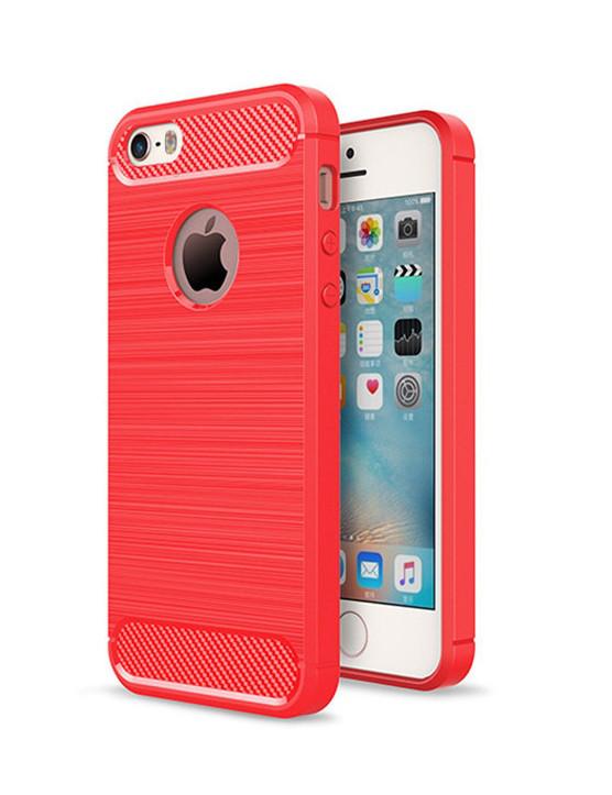 Чехол Carbon для Iphone 5 / 5s / SE Бампер оригинальный Red