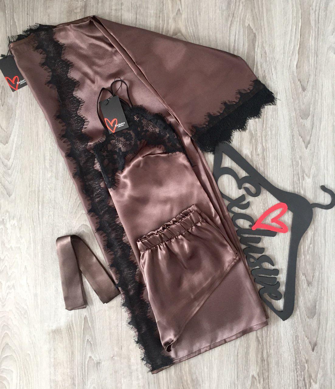 Домашняя женская одежда ТМ Exclusive: Халат, майка с шортиками