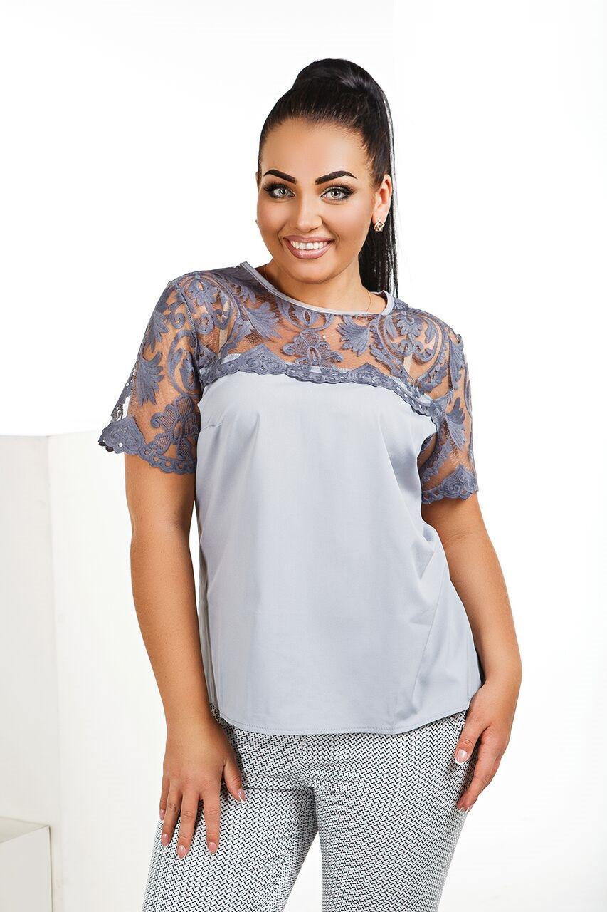 4527012ee9e Женская летняя блузка с кружевом размеры 42-56 -