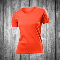 Футболка женская темно оранжевая с круглым вырезом