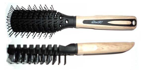 Расчёска для укладки ДенІС деревянная ручка двухсторонняя