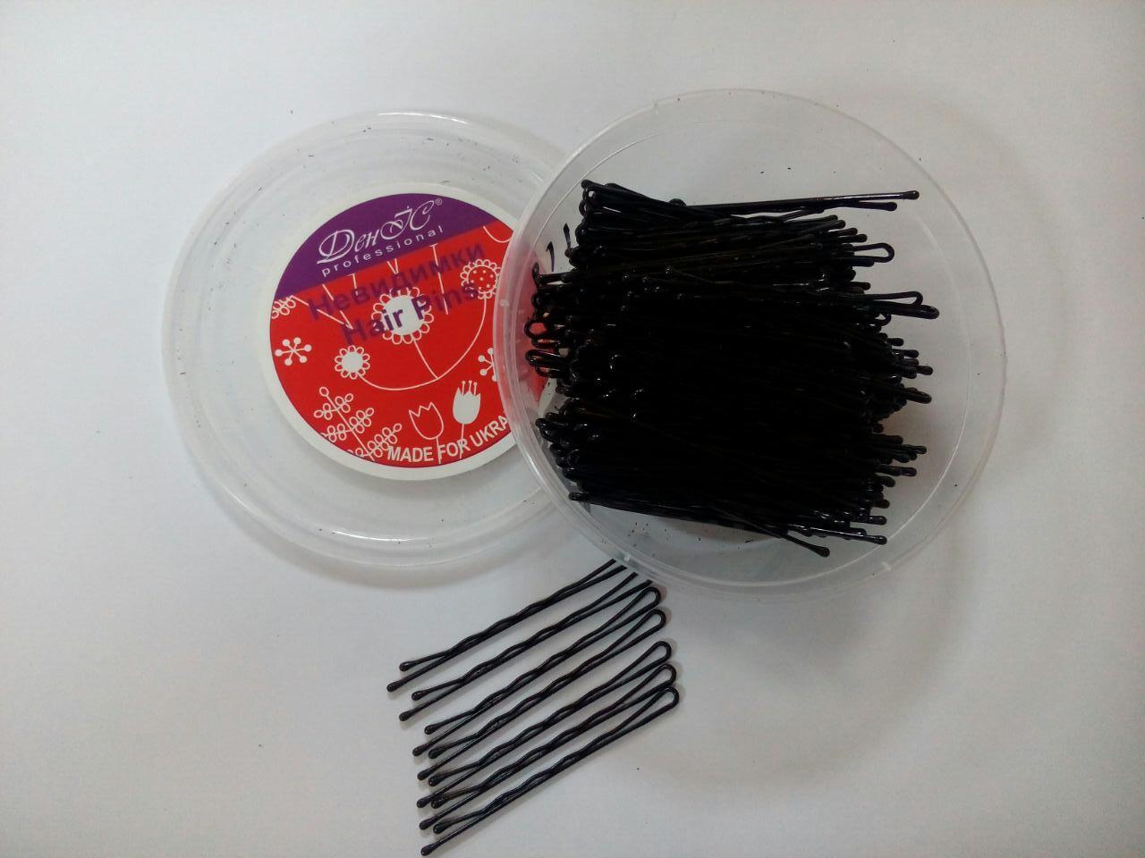 Невидимки черные 200 шт 7 см
