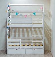 """Кроватка-домик на ножках с выкатными ящиками """"Двухэтажная S"""" Древос"""