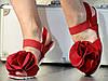 Женские Красные Босоножки с цветком на низком ходу