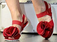 Женские Красные Босоножки с цветком на низком ходу р.36,37,38,39,40 , фото 1