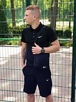 Комплект футболка поло + шорты Nike, мужской, цвет черный