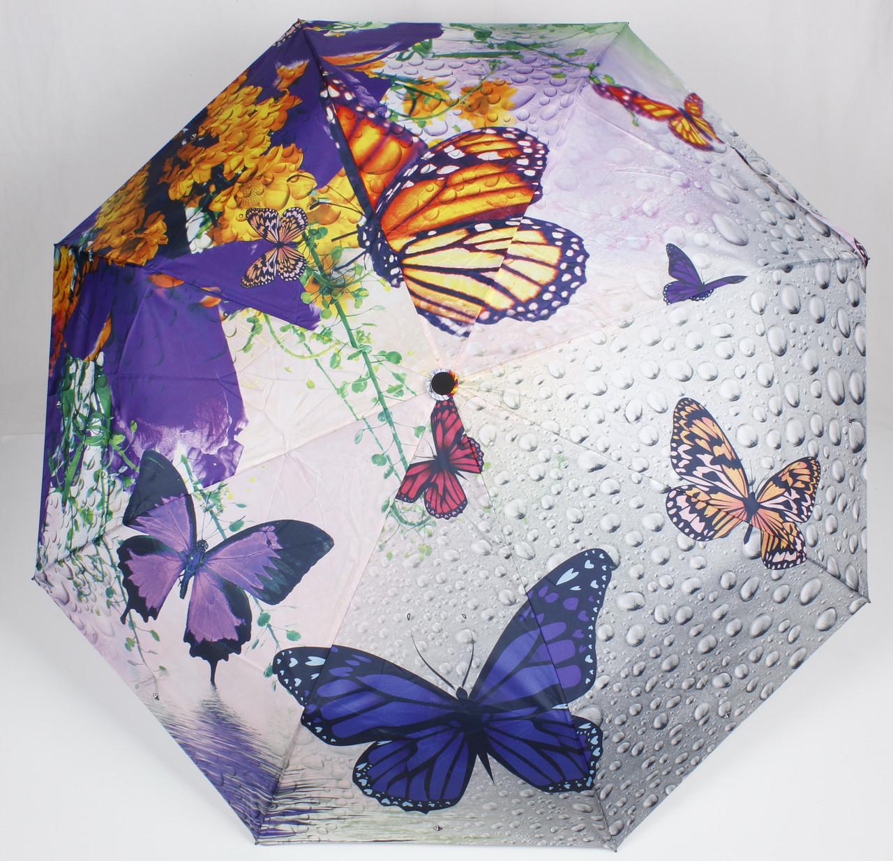 Зонт женский полуавтомат бабочки цветы Mario