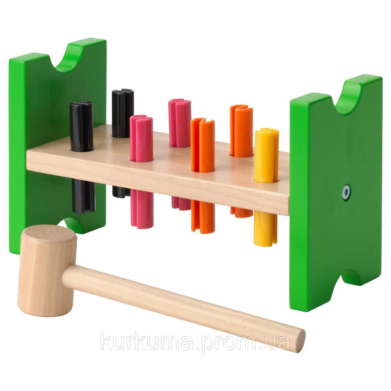 IKEA MULA Блок с колышками и молотком, многоцветный  (702.948.91)