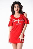 Платье-туника женское из вискозы с открытыми плечами P9569, фото 1