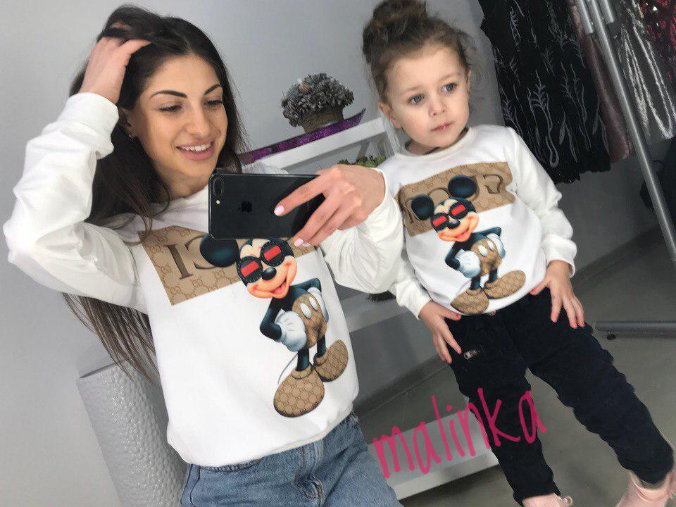 Одинаковые свитшоты мама и дочка микки маус