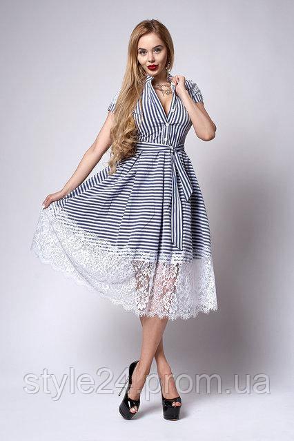 ЖІноче нарядне плаття з  кружевом та поясом.Р-ри 44-46