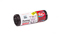 """Мешки (пакеты) для мусора полиэтиленовый (мусорный пакет) Top Pack® 35л 20шт/рулон С """"УШАМИ"""" (ручки) черный"""