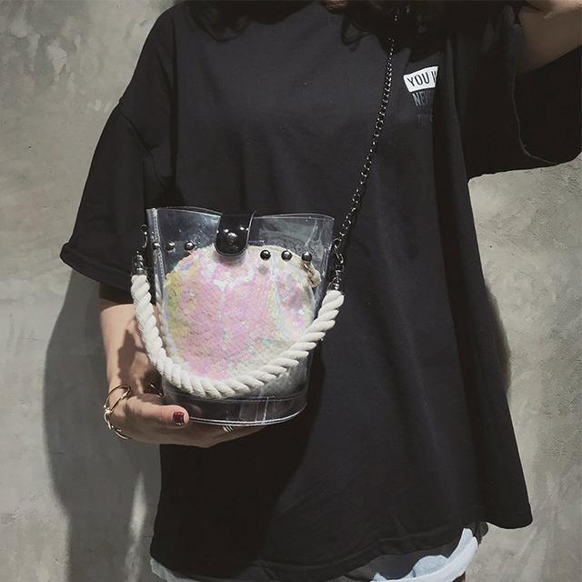 Силиконовая сумочка с мешочком в пайетках
