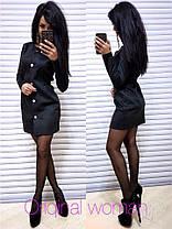 Платье замшевое на пуговицах талия на резинке, фото 2
