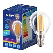 Лампа светодиодная декоративная филаментов ШАРИК LED Bulb P45, 4Вт, ТЕПЛО БЕЛАЯ, 220B, (E14)