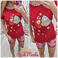 Пижамный костюм шорты и футболка с птичками