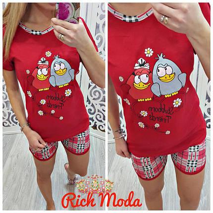 Пижамный костюм шорты и футболка с птичками, фото 2