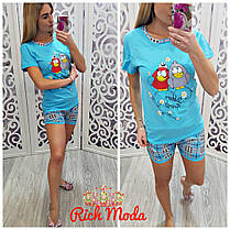 Пижамный костюм шорты и футболка с птичками, фото 3