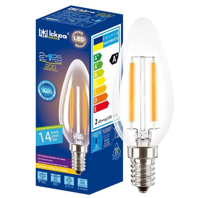 Лампа світлодіодна декоративна ФІЛАМЕНТ СВІЧКА LED Bulb В35, 4Вт, ТЕПЛО БІЛА, 220B, (E14)