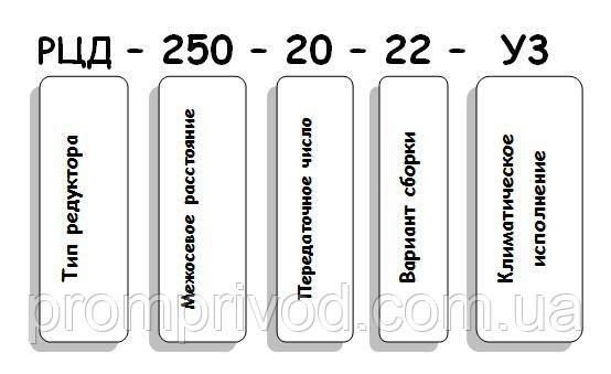 Условные обозначения редуктора РЦД-250-20