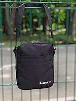 Сумка на плечо/мессенджер Reebok, черный, белая вышивка, фото 1
