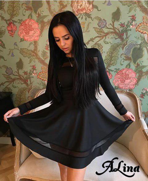 Платье клеш приталенное с вставками из сетки