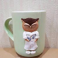 Кружка с декором из полимерной глины в виде совы - доктора Подарок врачу