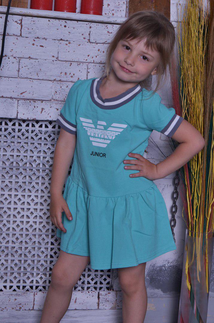 Детское платье с воланом и коротким рукавчиком