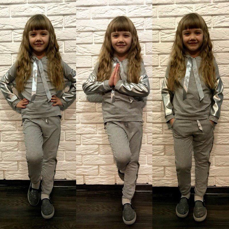Детскийкостюм кофта и штаны с атласной лентой