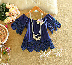 Блуза укороченная украшена кружевом  короткий рукав, фото 2
