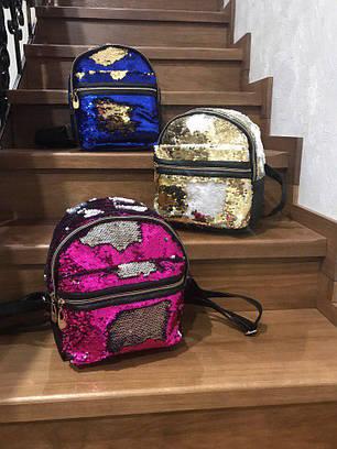 Рюкзак в двусторонних пайетках из кожзама, фото 2