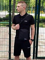 Комплект футболка поло + шорты Reebok, мужской, цвет черный, фото 1