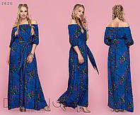 Летнее платье в пол из штапеля с принтом больших размеров