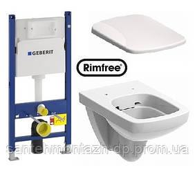 Комплект: NOVA PRO Rimfree унитаз подвесной прямоуг., Geberit Duofix 3в1, сид. Duroplast soft-close