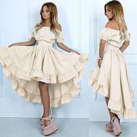 Летнее асимметричное платье со спущенными рукавами и воланами на юбке Neida