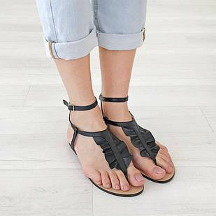 Сандалии женские Woman's heel 36-40 из натуральной кожи черного цвета с открытым носком