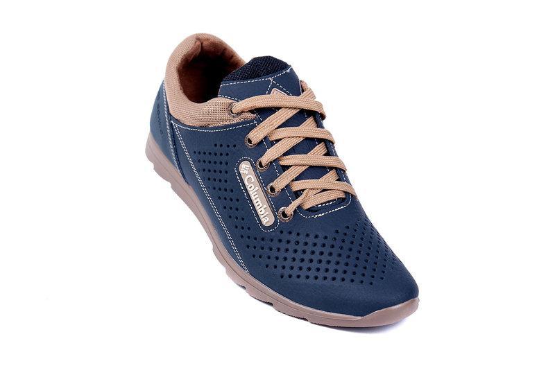 a1094e453 Мужские летние кожаные спортивные туфли Columbia (перфорация) синие ...