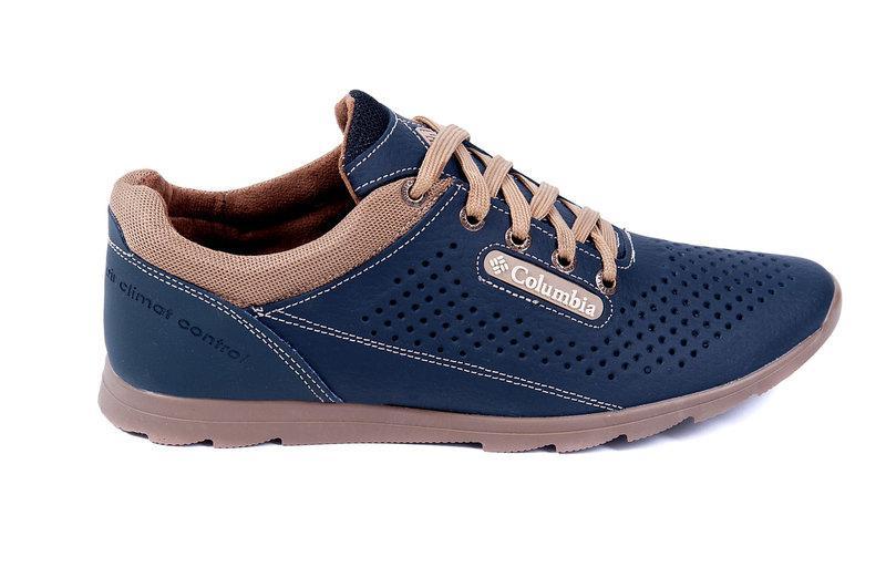 fe1da72ac Мужские летние кожаные спортивные туфли Columbia (перфорация) синие, ...