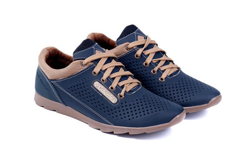 c3e40e231 ... Мужские летние кожаные спортивные туфли Columbia (перфорация) синие, ...