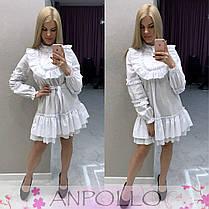 Платье с рюшками свободного кроя с поясом, фото 2