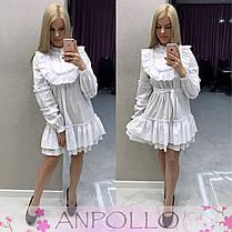 Платье с рюшками свободного кроя с поясом, фото 3