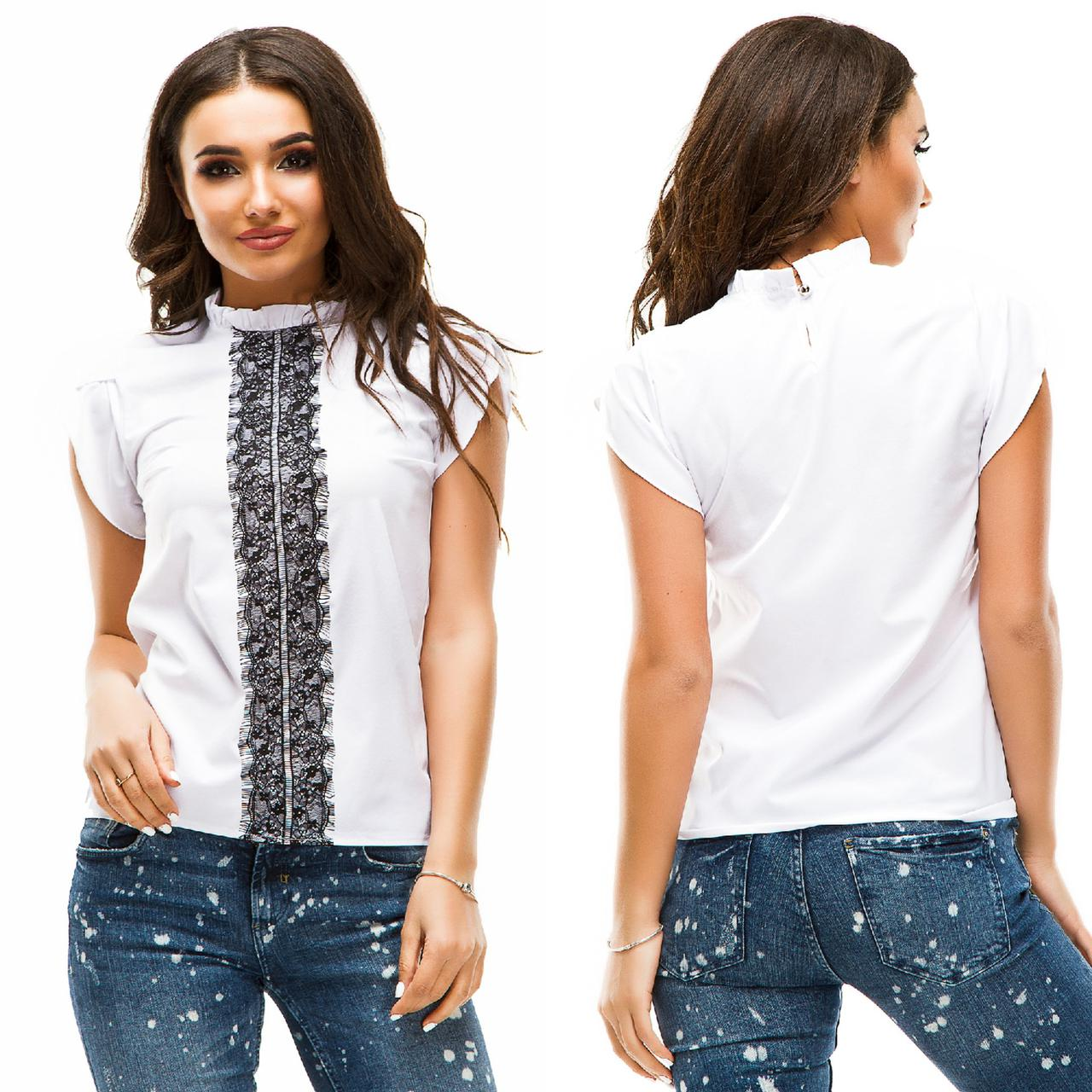 c9bd20cc69d Блузка с гипюровой вставкой - All You Need - прямой поставщик женской  одежды оптом и в