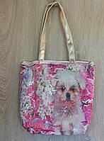 Стильная летняя городская, пляжная сумка с пайетками и принтом собачка, ассортимент цветов